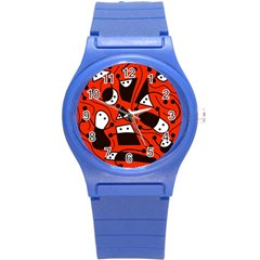 Playful Abstract Art   Red Round Plastic Sport Watch (s) by Valentinaart