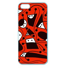 Playful Abstract Art   Red Apple Seamless Iphone 5 Case (color) by Valentinaart