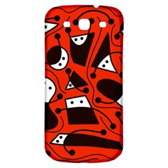 Playful Abstract Art   Red Samsung Galaxy S3 S Iii Classic Hardshell Back Case by Valentinaart