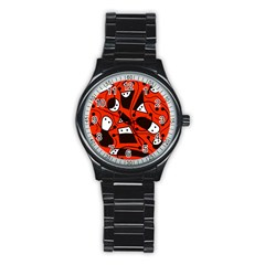 Playful Abstract Art   Red Stainless Steel Round Watch by Valentinaart