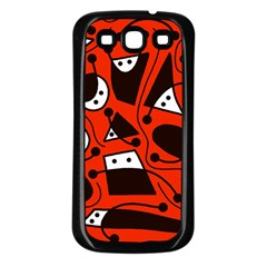 Playful Abstract Art   Red Samsung Galaxy S3 Back Case (black) by Valentinaart
