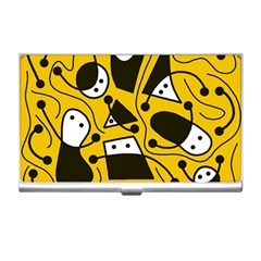 Playful Abstract Art   Yellow Business Card Holders by Valentinaart