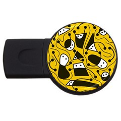 Playful Abstract Art   Yellow Usb Flash Drive Round (4 Gb)  by Valentinaart