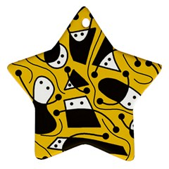 Playful Abstract Art   Yellow Star Ornament (two Sides)  by Valentinaart