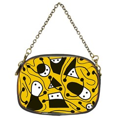 Playful Abstract Art   Yellow Chain Purses (two Sides)  by Valentinaart