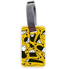 Playful Abstract Art   Yellow Luggage Tags (one Side)  by Valentinaart