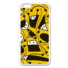 Playful Abstract Art   Yellow Apple Iphone 6 Plus/6s Plus Enamel White Case by Valentinaart