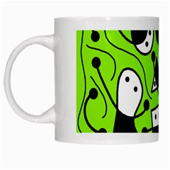 Playful Abstract Art   Green White Mugs by Valentinaart