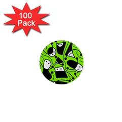 Playful Abstract Art   Green 1  Mini Buttons (100 Pack)  by Valentinaart
