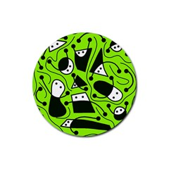 Playful Abstract Art   Green Rubber Coaster (round)  by Valentinaart