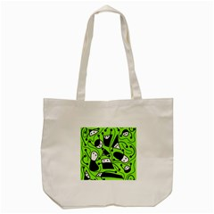 Playful Abstract Art   Green Tote Bag (cream) by Valentinaart
