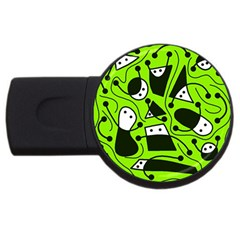 Playful Abstract Art   Green Usb Flash Drive Round (4 Gb)  by Valentinaart