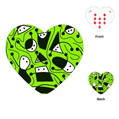 Playful Abstract Art   Green Playing Cards (heart)  by Valentinaart