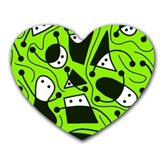 Playful Abstract Art   Green Heart Mousepads by Valentinaart