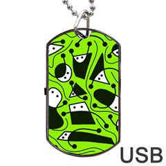 Playful Abstract Art   Green Dog Tag Usb Flash (one Side) by Valentinaart