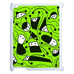 Playful Abstract Art   Green Apple Ipad 2 Case (white) by Valentinaart