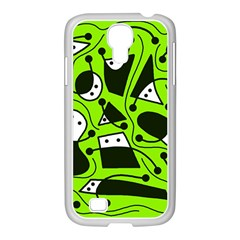 Playful Abstract Art   Green Samsung Galaxy S4 I9500/ I9505 Case (white) by Valentinaart
