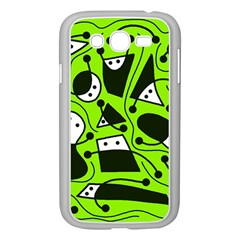 Playful Abstract Art   Green Samsung Galaxy Grand Duos I9082 Case (white) by Valentinaart
