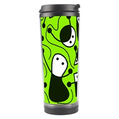 Playful Abstract Art   Green Travel Tumbler by Valentinaart