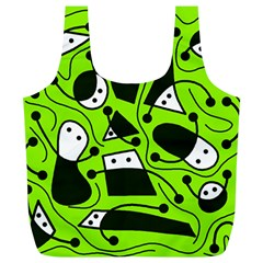 Playful Abstract Art   Green Full Print Recycle Bags (l)  by Valentinaart