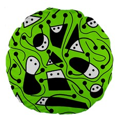 Playful Abstract Art   Green Large 18  Premium Flano Round Cushions by Valentinaart