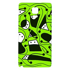 Playful Abstract Art   Green Galaxy Note 4 Back Case by Valentinaart
