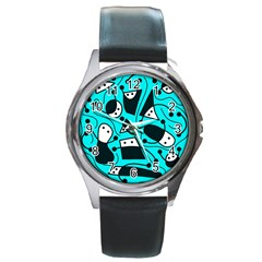 Playful Abstract Art   Cyan Round Metal Watch by Valentinaart
