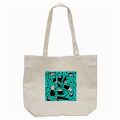 Playful Abstract Art   Cyan Tote Bag (cream) by Valentinaart