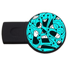 Playful Abstract Art   Cyan Usb Flash Drive Round (4 Gb)  by Valentinaart