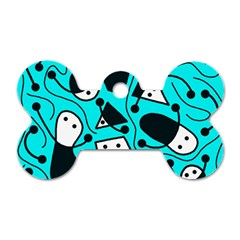 Playful Abstract Art   Cyan Dog Tag Bone (one Side) by Valentinaart