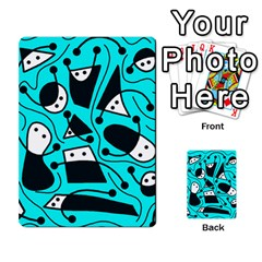 Playful Abstract Art   Cyan Multi Purpose Cards (rectangle)  by Valentinaart