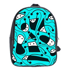 Playful Abstract Art   Cyan School Bags(large)  by Valentinaart