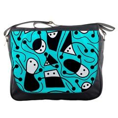 Playful Abstract Art   Cyan Messenger Bags by Valentinaart