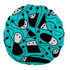Playful Abstract Art   Cyan Large 18  Premium Round Cushions by Valentinaart