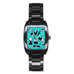 Playful Abstract Art   Cyan Stainless Steel Barrel Watch by Valentinaart