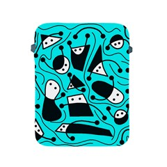 Playful Abstract Art   Cyan Apple Ipad 2/3/4 Protective Soft Cases by Valentinaart