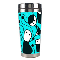 Playful Abstract Art   Cyan Stainless Steel Travel Tumblers by Valentinaart