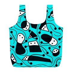 Playful Abstract Art   Cyan Full Print Recycle Bags (l)  by Valentinaart