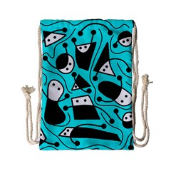 Playful Abstract Art   Cyan Drawstring Bag (small) by Valentinaart