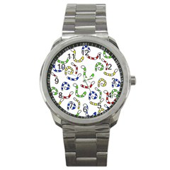 Colorful Worms  Sport Metal Watch by Valentinaart