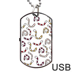 Cute Worms Dog Tag Usb Flash (two Sides)  by Valentinaart