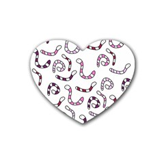 Purple Worms Heart Coaster (4 Pack)  by Valentinaart