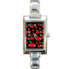 Red Apples  Rectangle Italian Charm Watch by Valentinaart
