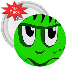 Halloween Frankenstein - Green 3  Buttons (10 pack)  by Valentinaart