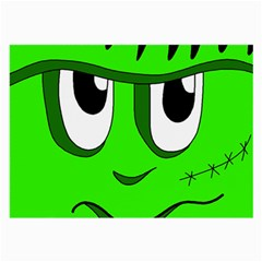 Halloween Frankenstein   Green Large Glasses Cloth (2 Side) by Valentinaart