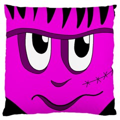 Halloween   Pink Frankenstein Large Flano Cushion Case (two Sides) by Valentinaart