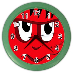 Halloween Frankenstein - red Color Wall Clocks by Valentinaart