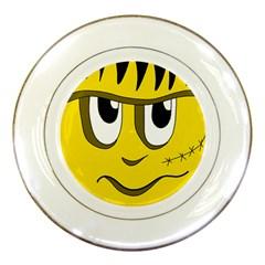 Halloween Frankenstein   Yellow Porcelain Plates by Valentinaart