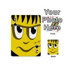 Halloween Frankenstein   Yellow Playing Cards 54 (mini)  by Valentinaart
