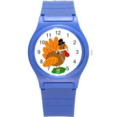 Thanksgiving Turkey   Transparent Round Plastic Sport Watch (s) by Valentinaart